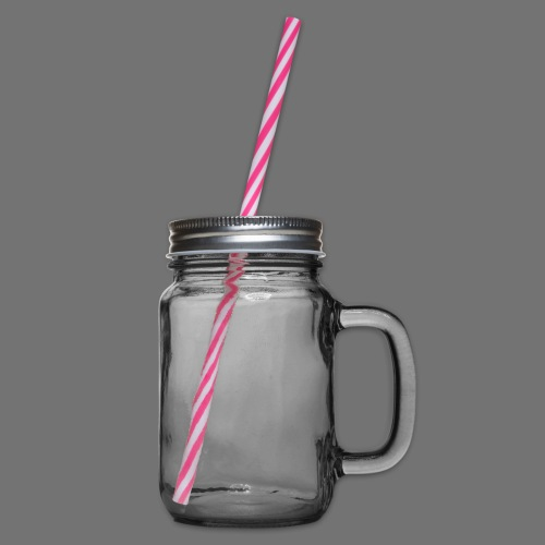 communication white sixnineline - Glass jar with handle and screw cap