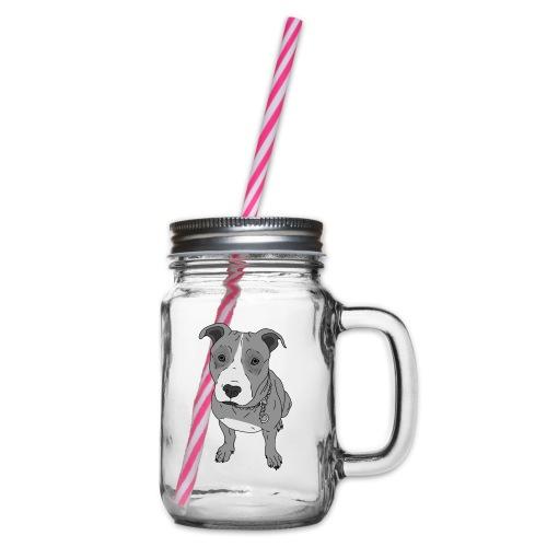 Hundeblick Hund süß Stafford Geschenk Idee - Henkelglas mit Schraubdeckel