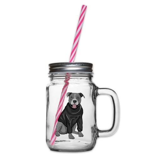Süßer Hund Pullover Pulli Stafford Geschenk Idee - Henkelglas mit Schraubdeckel