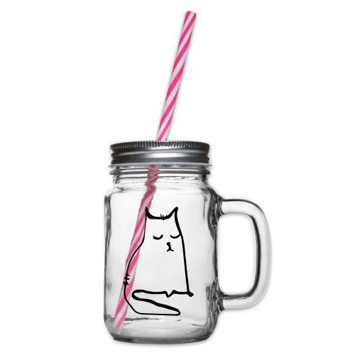 sad cat - Henkelglas mit Schraubdeckel