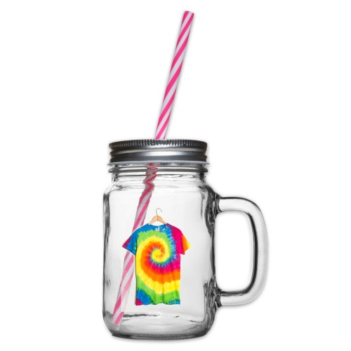 tie die small merch - Glass jar with handle and screw cap