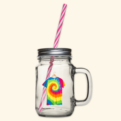 tie die - Glass jar with handle and screw cap