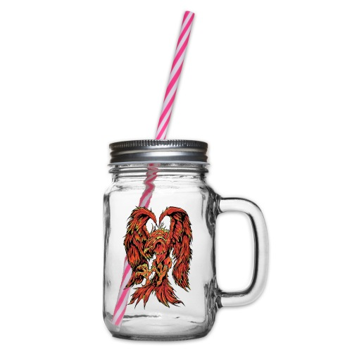 Fire Phoenix - Glass jar with handle and screw cap
