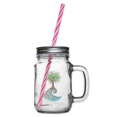 Wellenbaum - Henkelglas mit Schraubdeckel