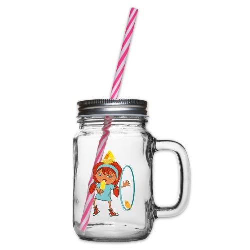 Happy Girl mit Eis, Vögeln und HulaHoop - Henkelglas mit Schraubdeckel