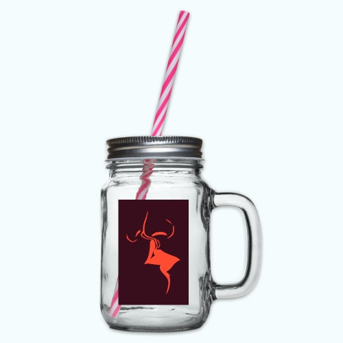 A dear kiss - minimalism lines drawing - Glass jar with handle and screw cap