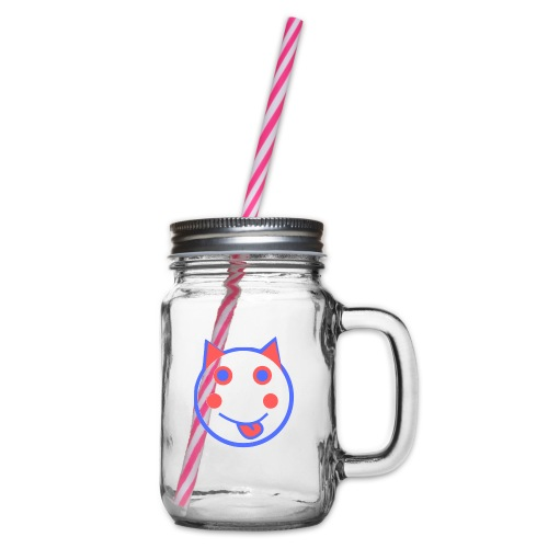 Red White And Blue - Alf Da Cat - Glass jar with handle and screw cap