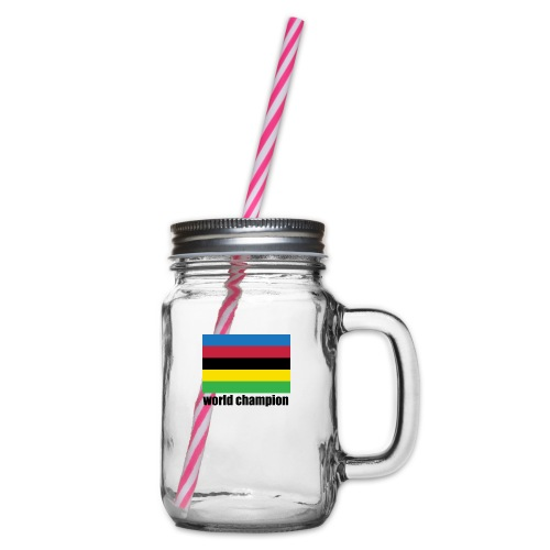 world champion cycling stripes - Drinkbeker met handvat en schroefdeksel