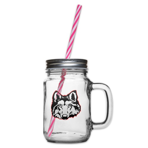 Wolfie (Red) - Glass jar with handle and screw cap