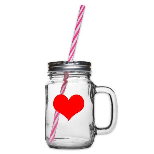 rotes Herz - Henkelglas mit Schraubdeckel