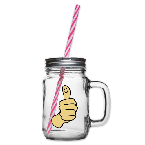 Thumbs Up Smile - Glass jar with handle and screw cap