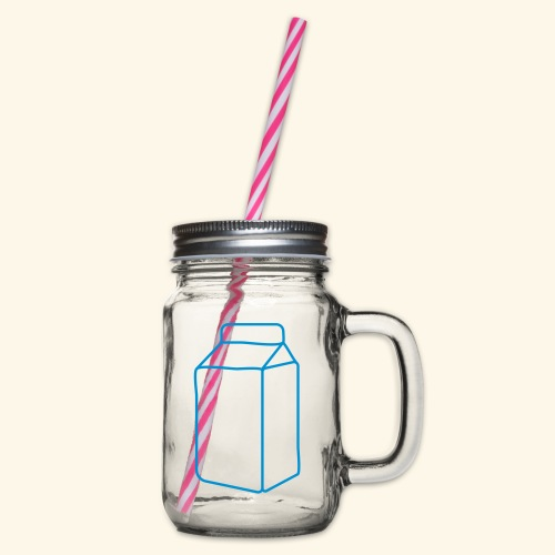 milk carton - Glass jar with handle and screw cap