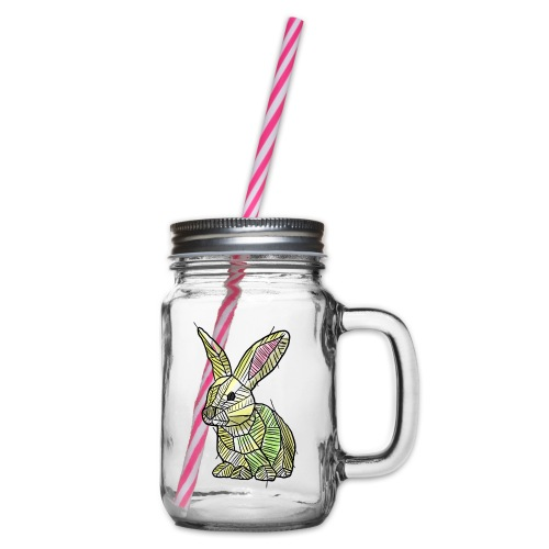 Scribblebunny - Glass jar with handle and screw cap