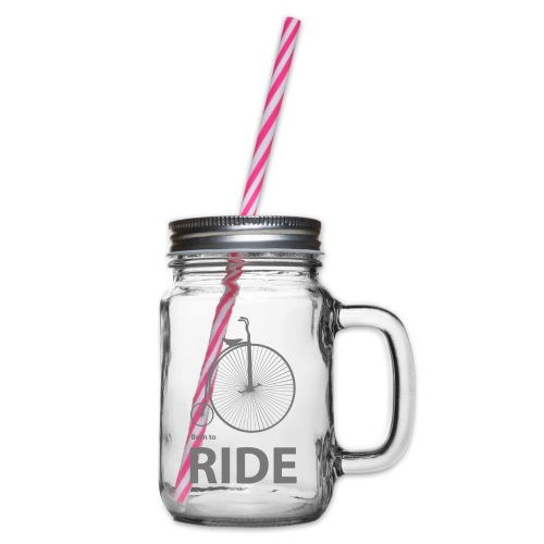 Born To Ride - Glass jar with handle and screw cap