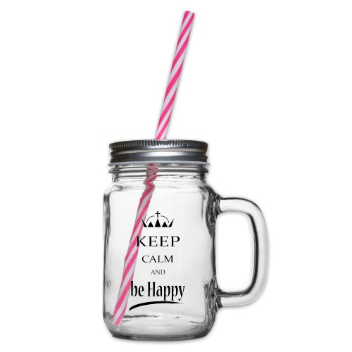 keep_calm and_be_happy-01 - Boccale con coperchio avvitabile