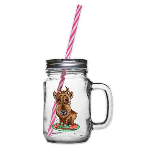 Reindeer refined scribblesirii - Henkelglas mit Schraubdeckel