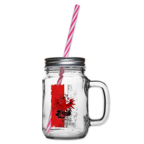 Retro Tirol - Henkelglas mit Schraubdeckel