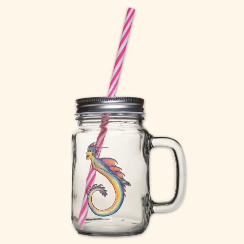 Färgglad sjöjungfru - Glas med handtag och skruvlock