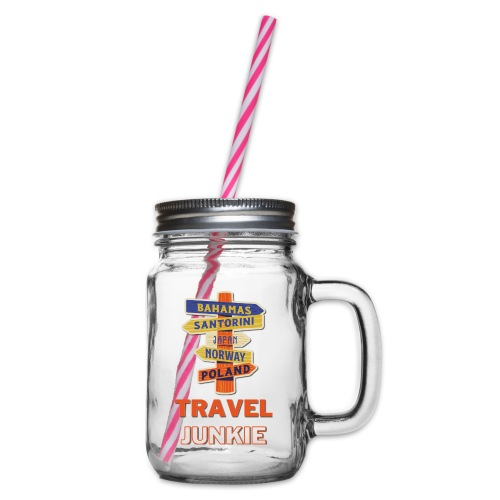 traveljunkie - i like to travel - Henkelglas mit Schraubdeckel