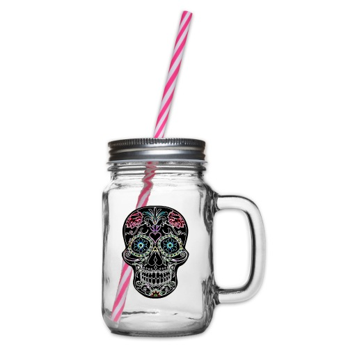 Floral Skull - Glass jar with handle and screw cap