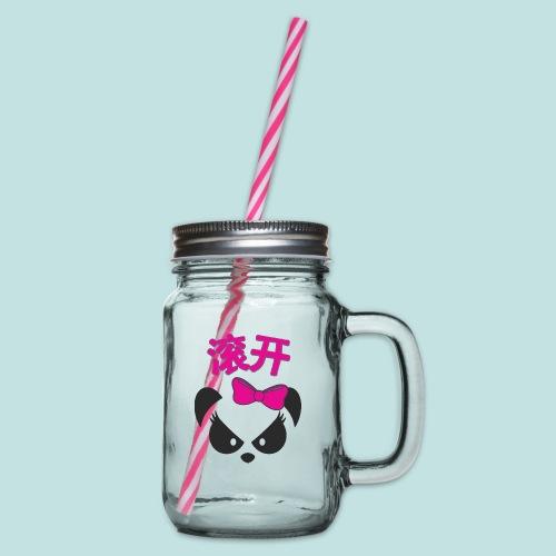 Sweary Panda - Glass jar with handle and screw cap