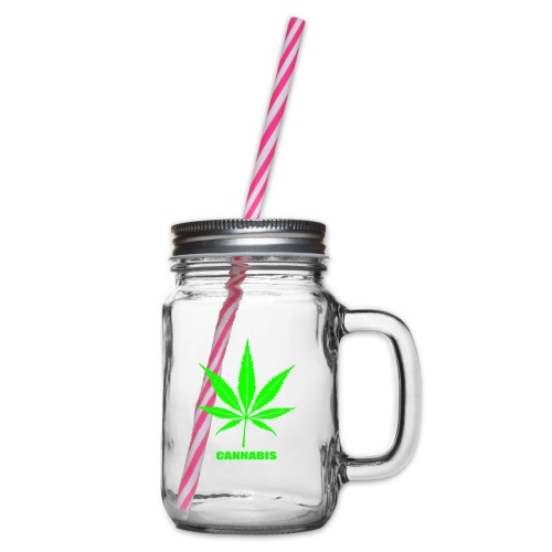 cannabis, cannabis community, amsterdam, art, love - Glass jar with handle and screw cap