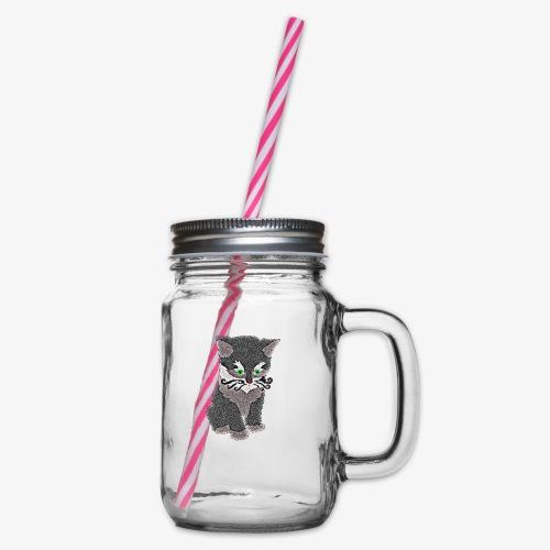 Kotek szary - Słoik do picia z pokrywką
