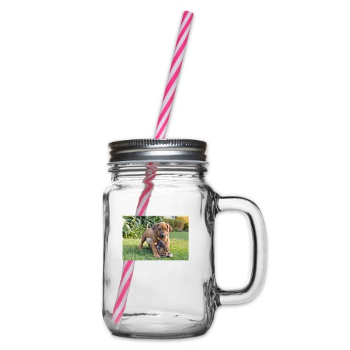 adorable puppies - Glass jar with handle and screw cap