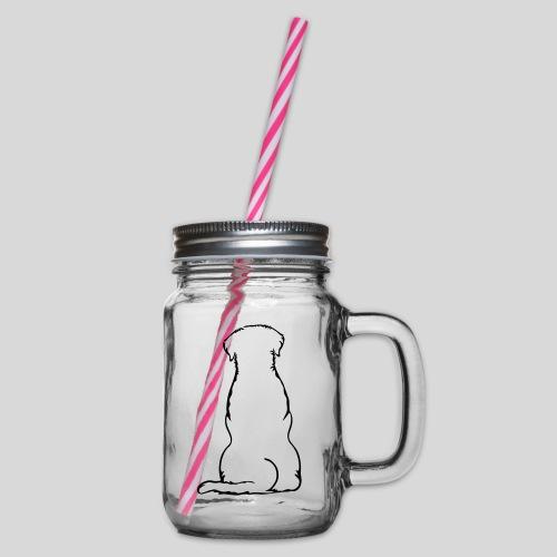 Labbi_sitzend_Back - Henkelglas mit Schraubdeckel