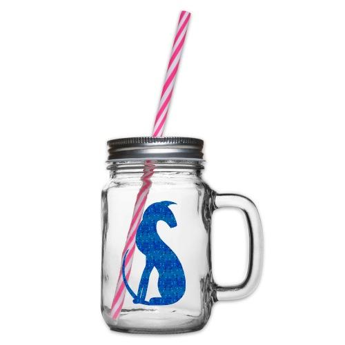 Siluett blå - Glas med handtag och skruvlock