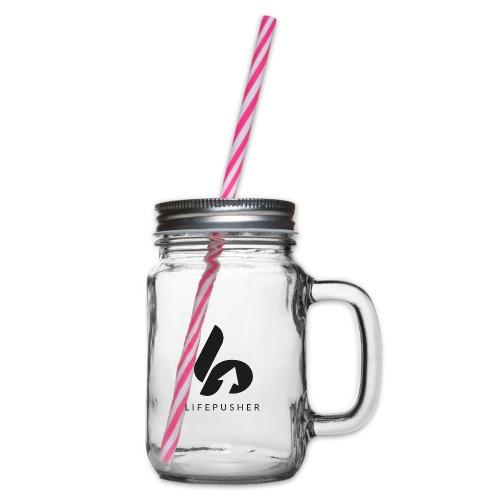 Lifepusher Logo Schwarz mit Text - Henkelglas mit Schraubdeckel