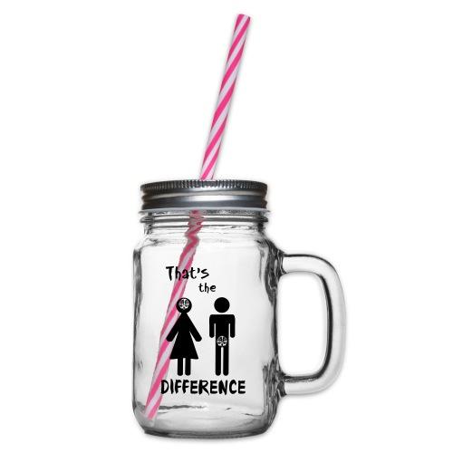 Unterschied Mann & Frau - Henkelglas mit Schraubdeckel