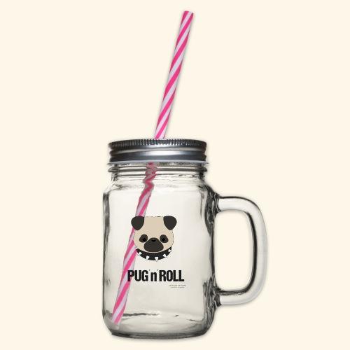 Pug Let´s rock - Henkelglas mit Schraubdeckel