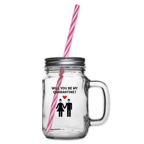 Liebespaar mit Schriftzug - Henkelglas mit Schraubdeckel