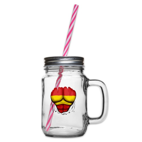 España Flag Ripped Muscles six pack chest t-shirt - Glass jar with handle and screw cap