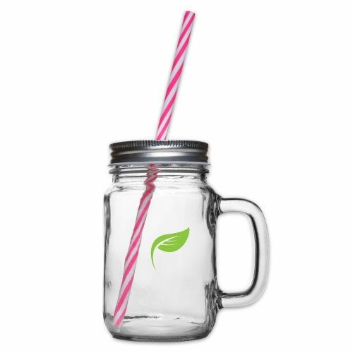 DrGreen Logo Symbol weiss grün - Henkelglas mit Schraubdeckel