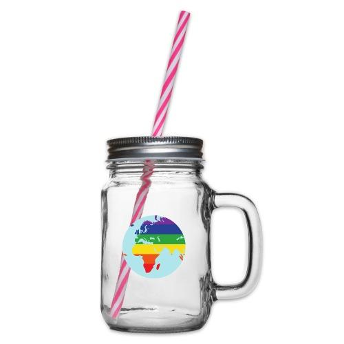 Erde   Regenbogen   LGBT - Henkelglas mit Schraubdeckel
