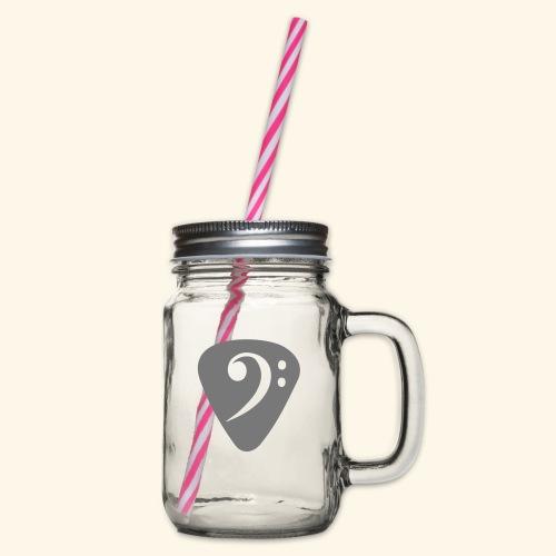 plektrum_bassschluessel - Henkelglas mit Schraubdeckel