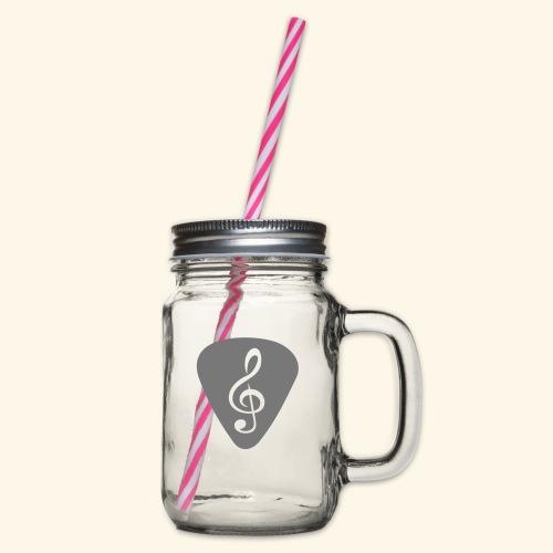 plektrum_notenschluessel - Henkelglas mit Schraubdeckel