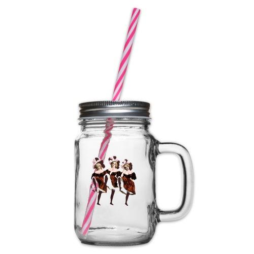 Vintage Dancers - Glass jar with handle and screw cap