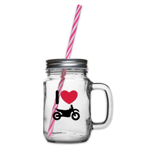 I love biking - Henkelglas mit Schraubdeckel