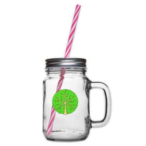Baum, rund, hellgrün - Henkelglas mit Schraubdeckel