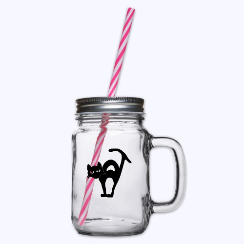 Kat black - Henkelglas mit Schraubdeckel