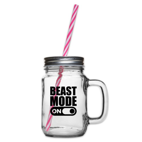 BEAST MODE ON - Glass jar with handle and screw cap