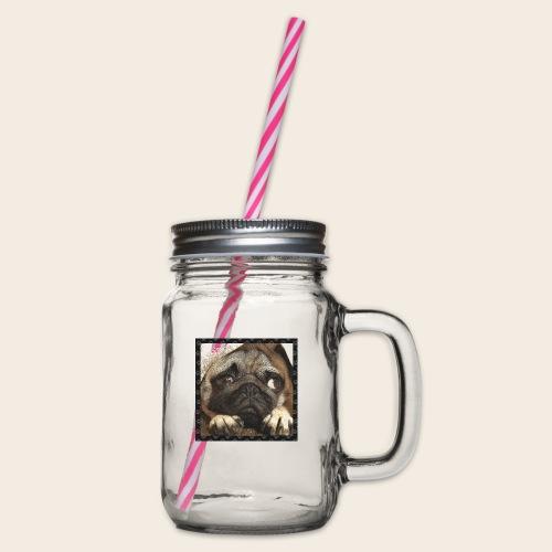 Mops Hund 1 - Henkelglas mit Schraubdeckel