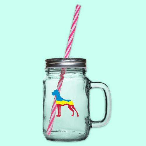 Flaggen Dogge - Henkelglas mit Schraubdeckel