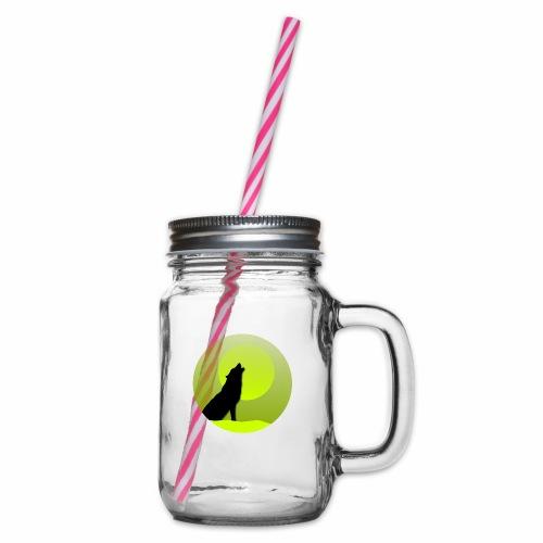 Wolf grün - Henkelglas mit Schraubdeckel