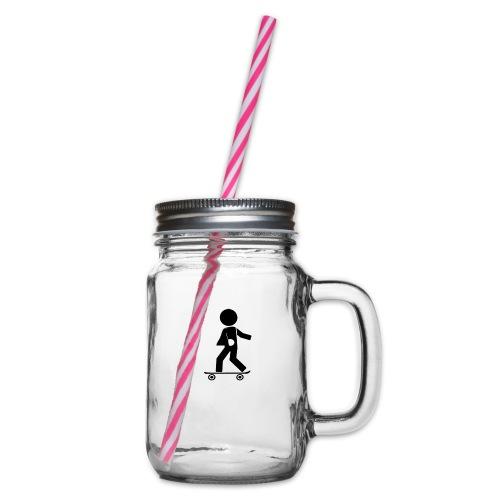 broken arm - Glass jar with handle and screw cap