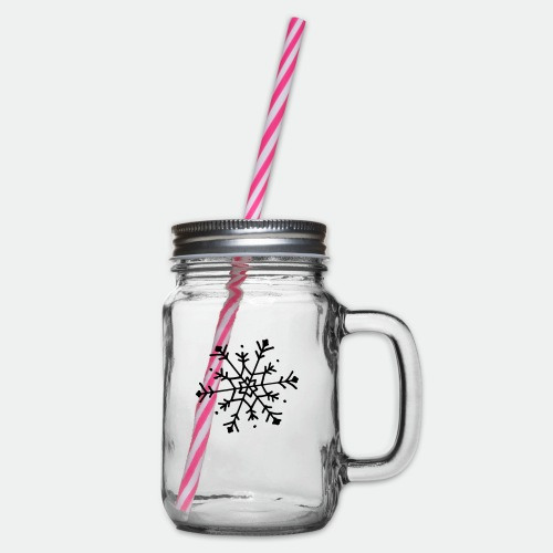 Cute snowflake - Glass jar with handle and screw cap