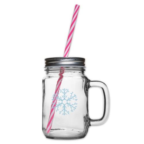 schneeflocke-hellblau-ver - Henkelglas mit Schraubdeckel